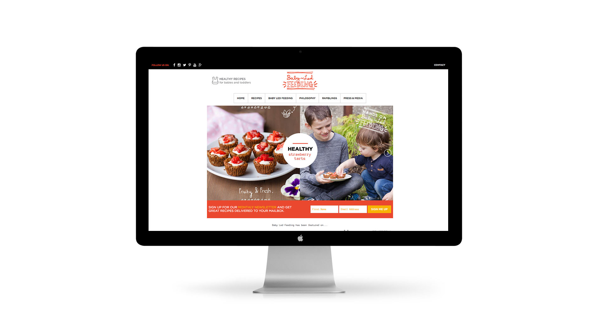 Baby Led Feeding Branding and website for new food startup Irish company Website Homepage.