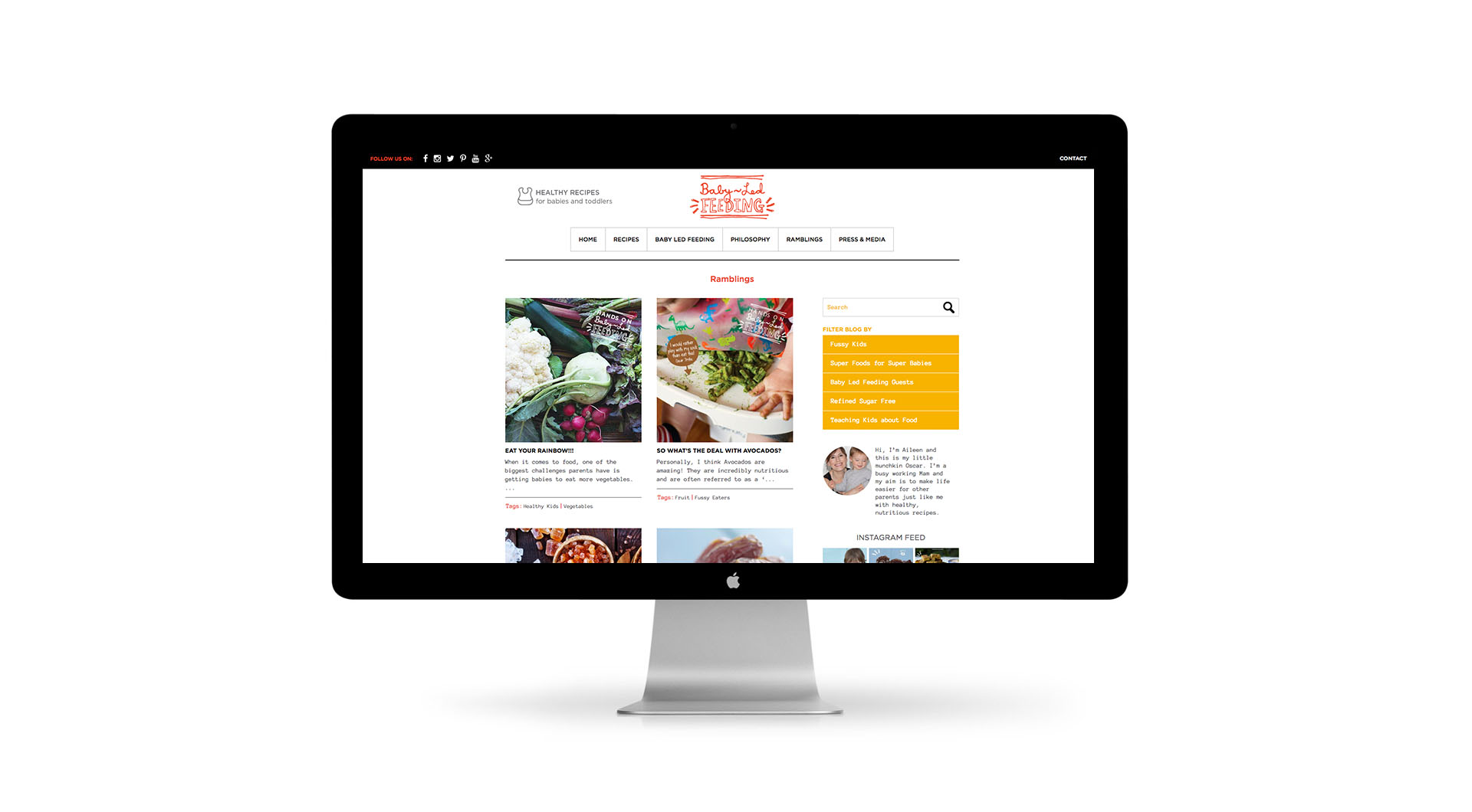 Baby Led Feeding Branding and website for new food startup Irish company Ramblings.