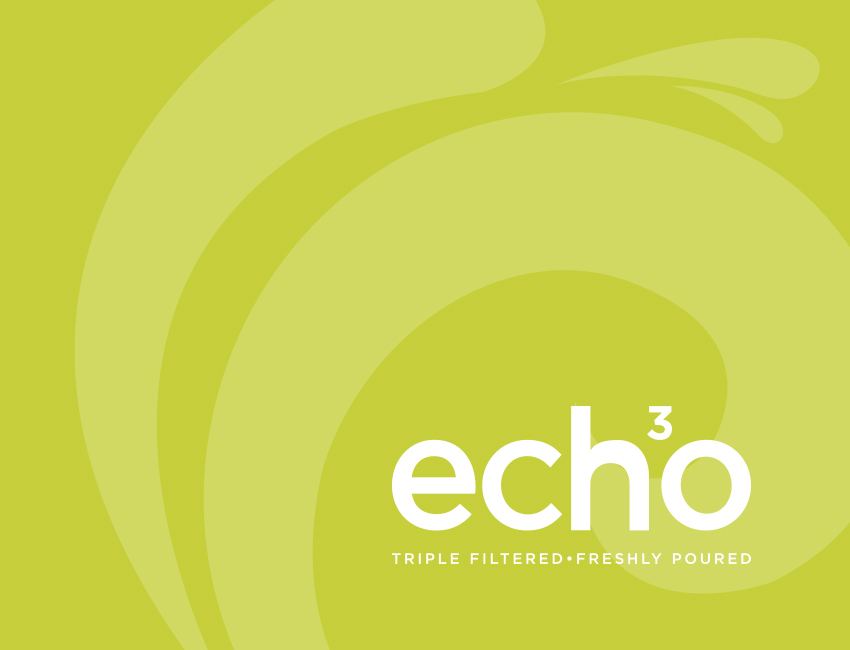 Echo water branding and bottle design feature image.
