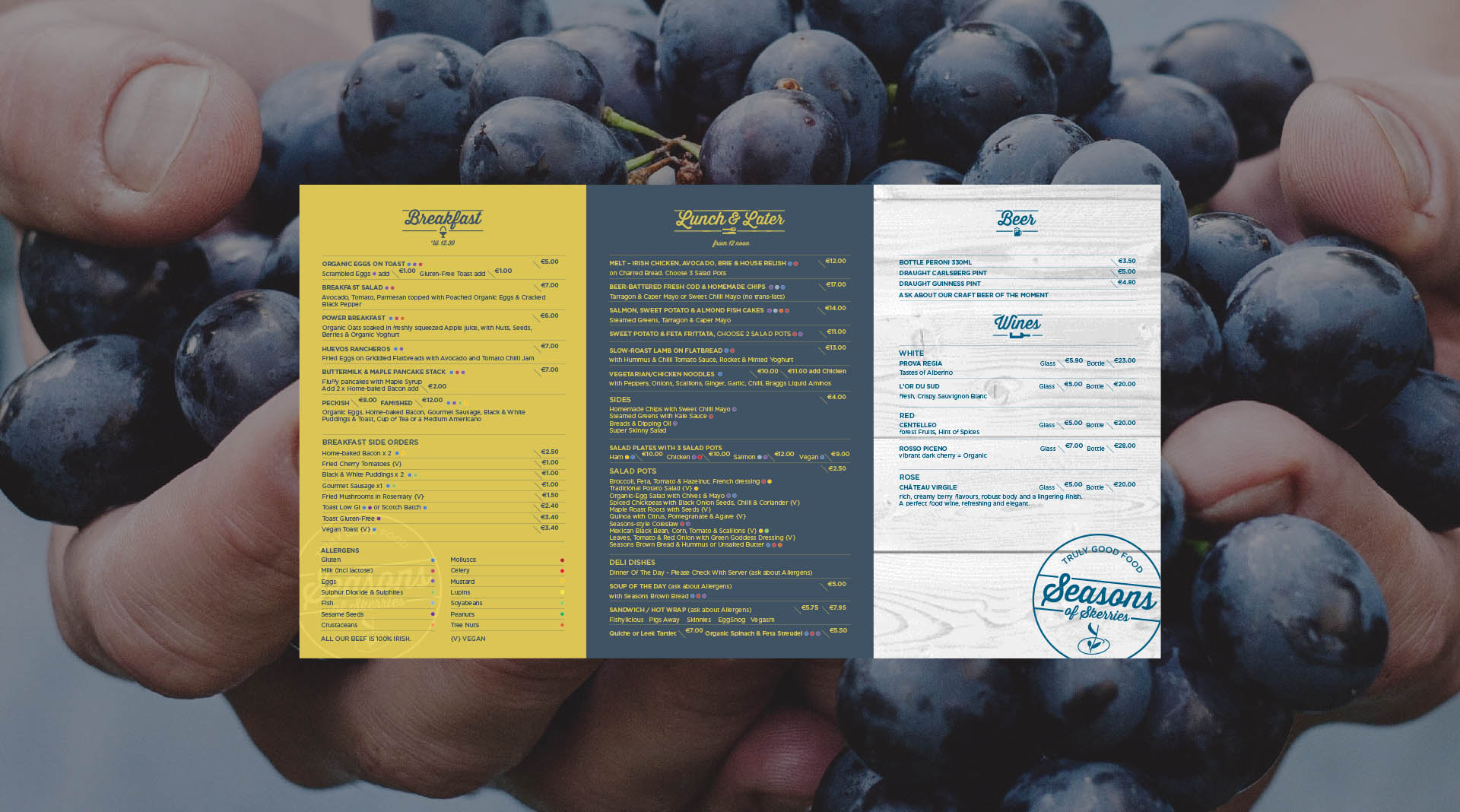 Seasons of Skerries Menu Design.