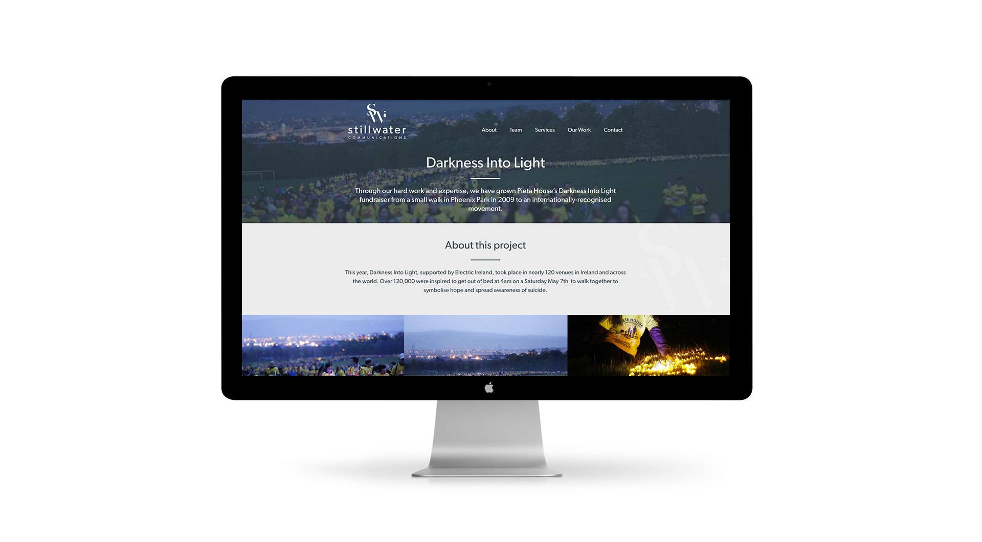 Stillwater Communications Website Design Projects Page Darkness Into Light Layout.