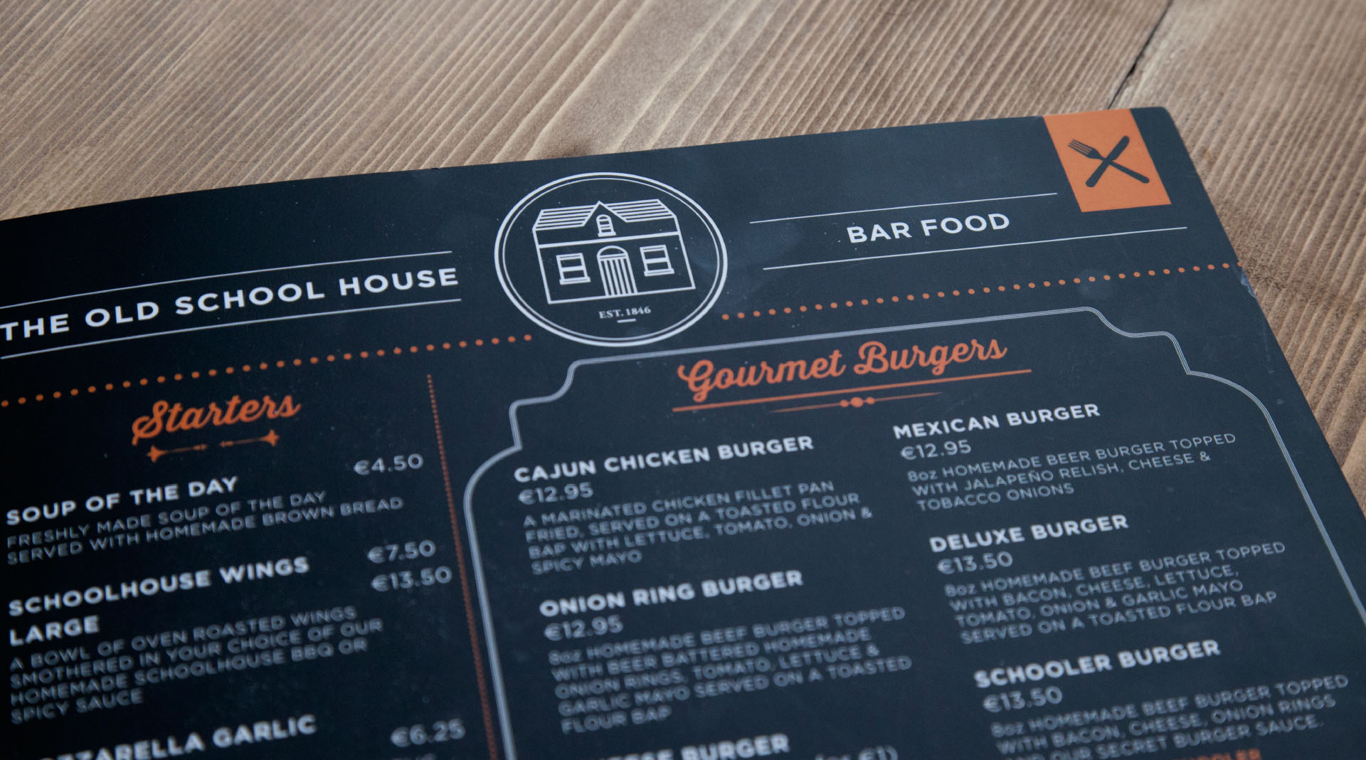 The Old Schoolhouse Menu Close Up