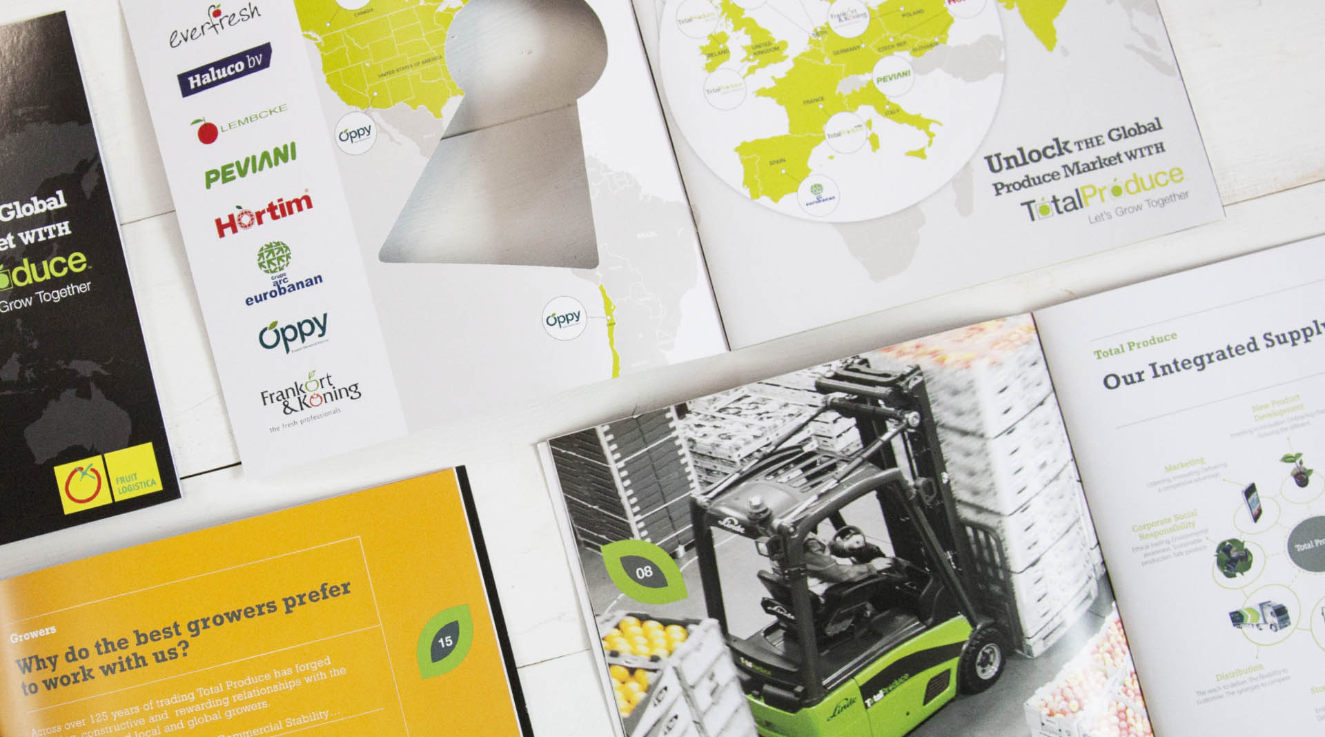 Total Produce Fruit Logistica Brochure Design Full spread layout.