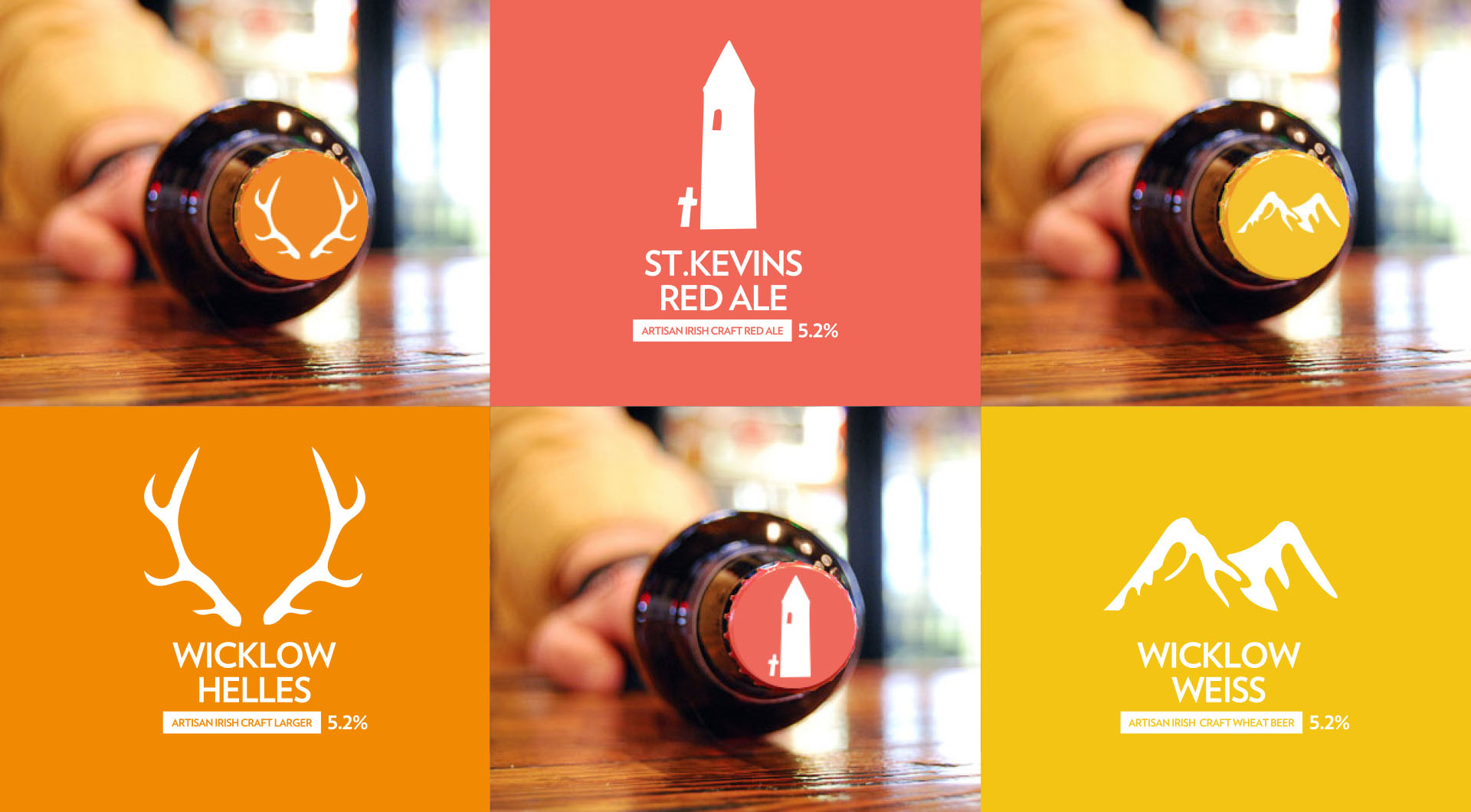 Wicklow Brewery Beer bottle design, beer packaging design, bottle tops.