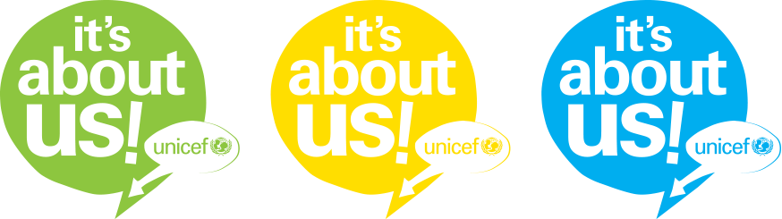 Unicef It's About Us Logo options.