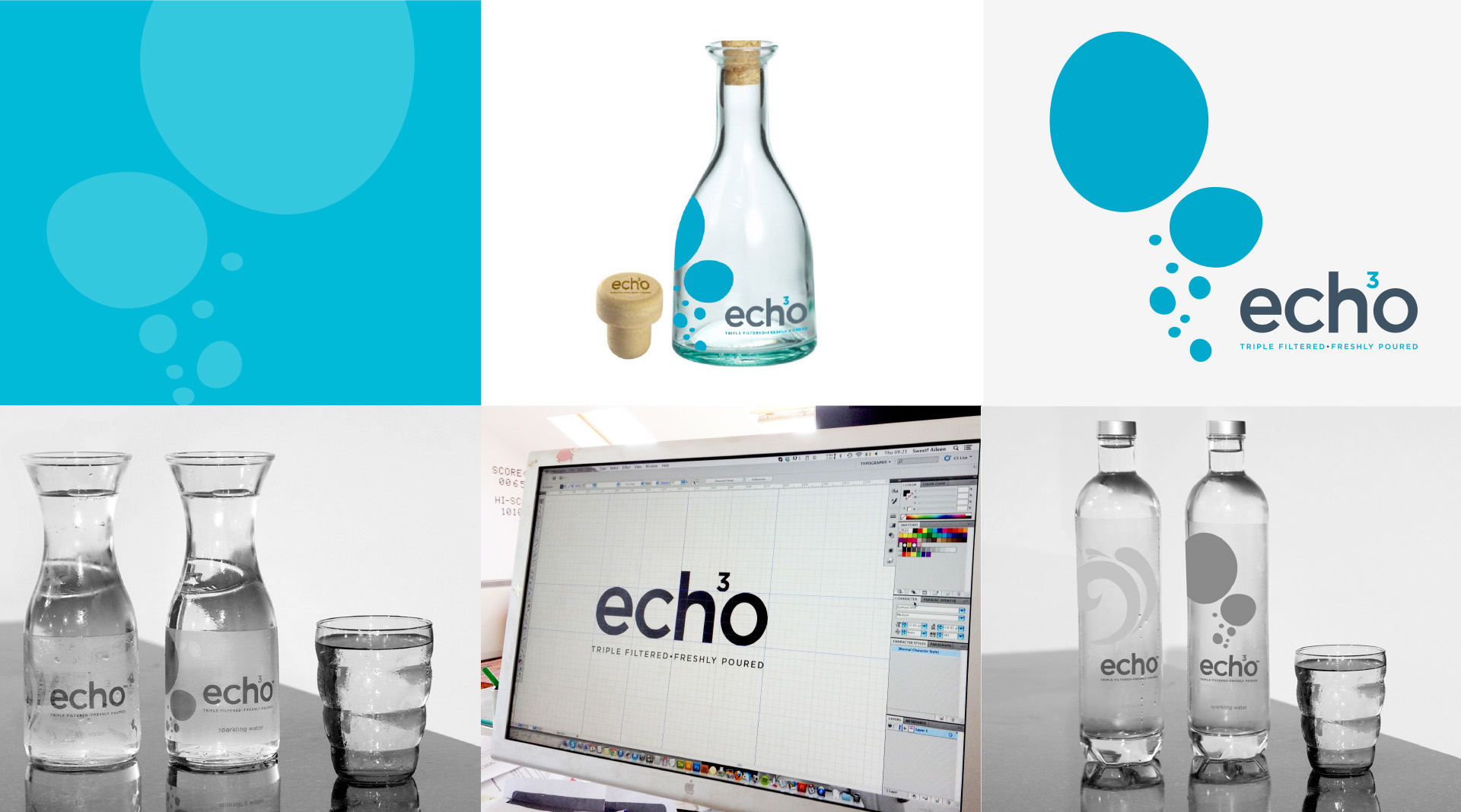 Echo Water design elements and pack shots