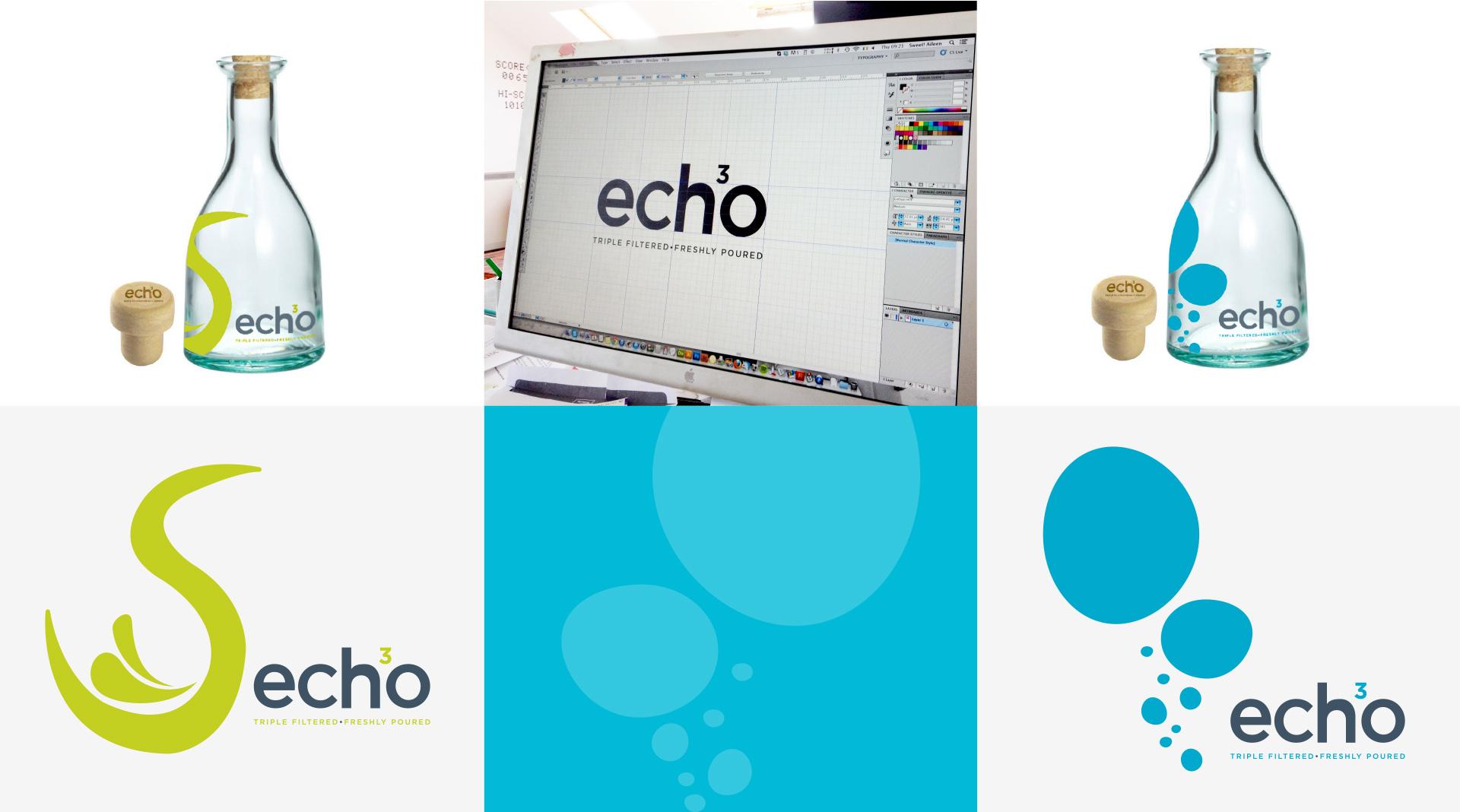 Echo Water bottle design and branding elements.