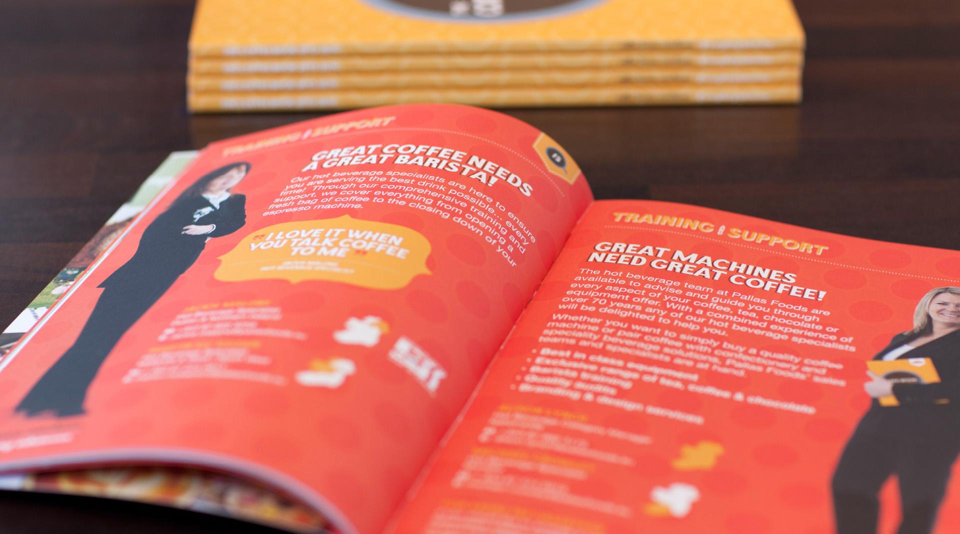 Pallas foods coffee book design detailed spread