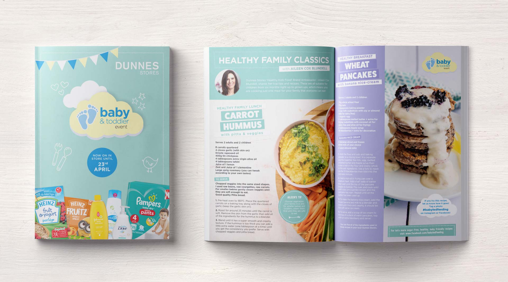 Dunnes Stores and Baby Led Feeding spreads.