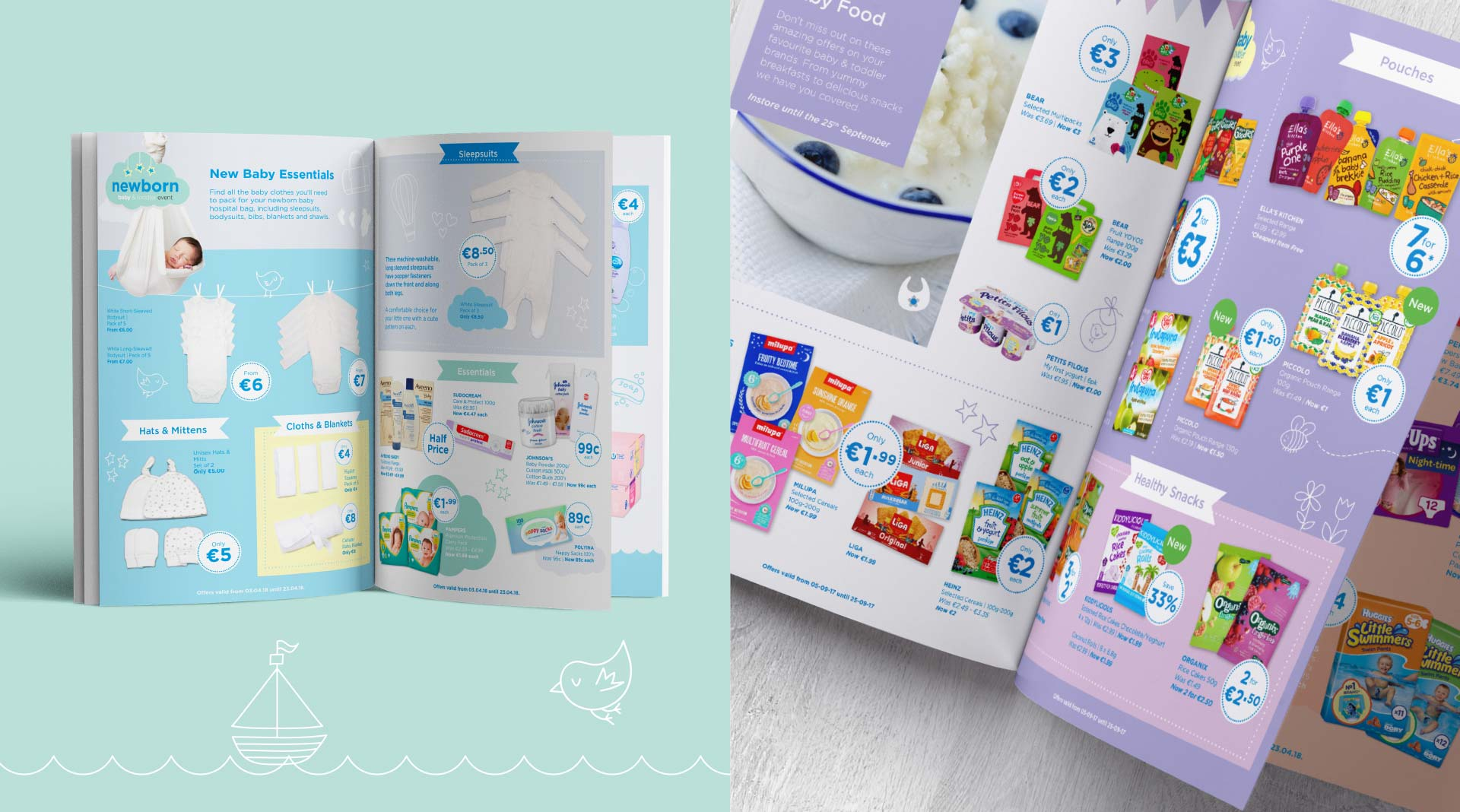 Baby event magazine layout and photography.