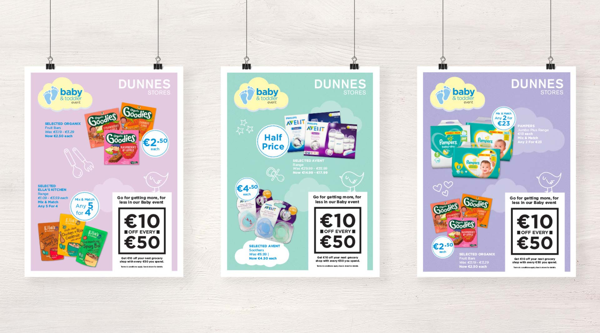Dunnes Stores Baby Event poster designs