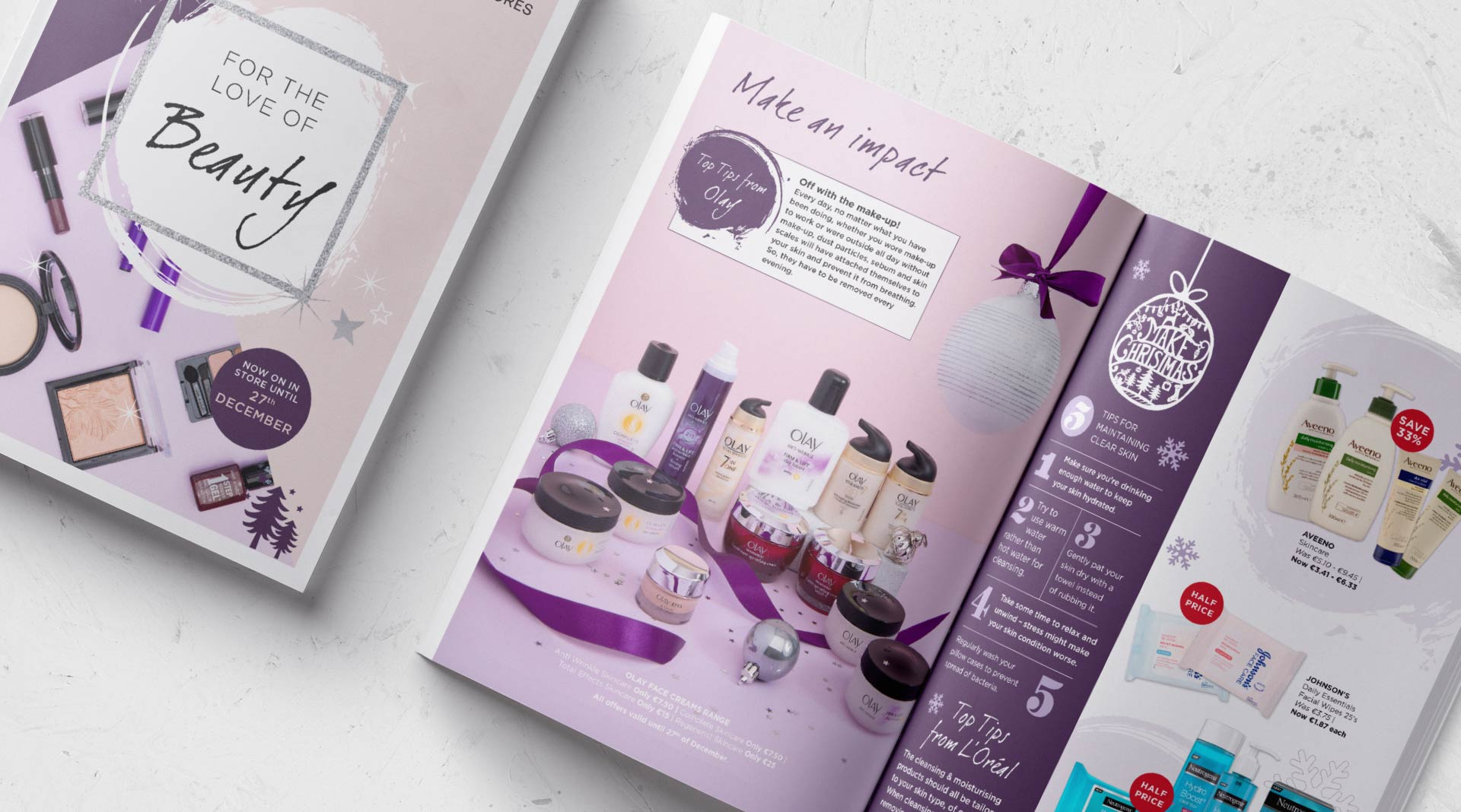 Photography and magazine design for instore Beauty event.