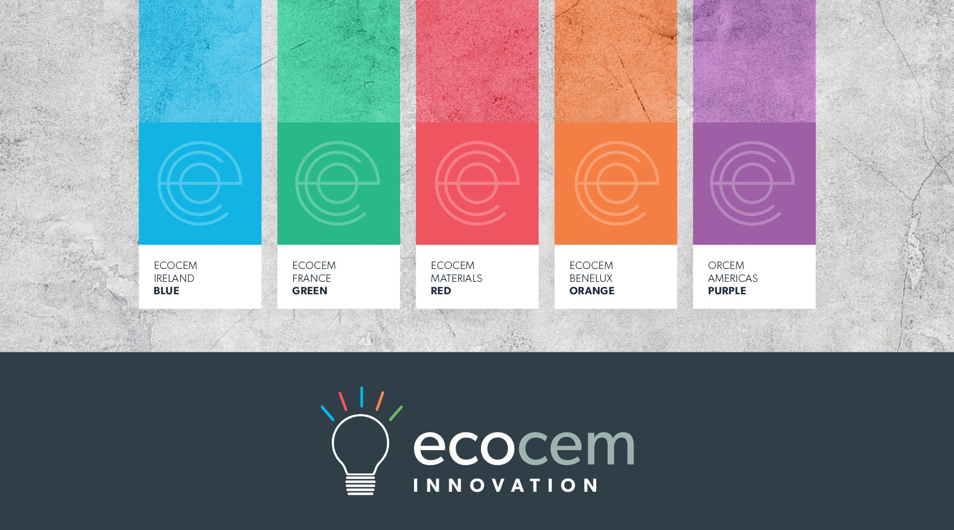 Ecocem colour breakdowns for different subsidiaries