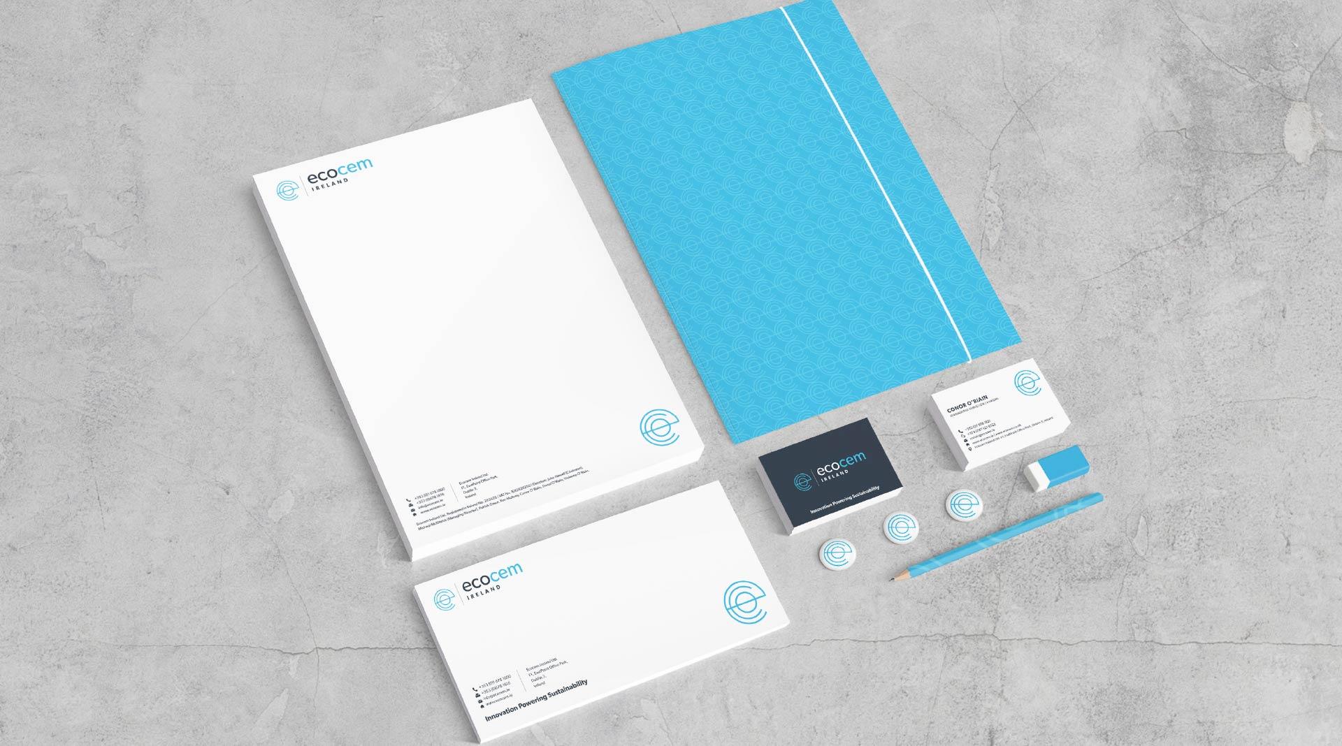 Ecocem Ireland stationery design