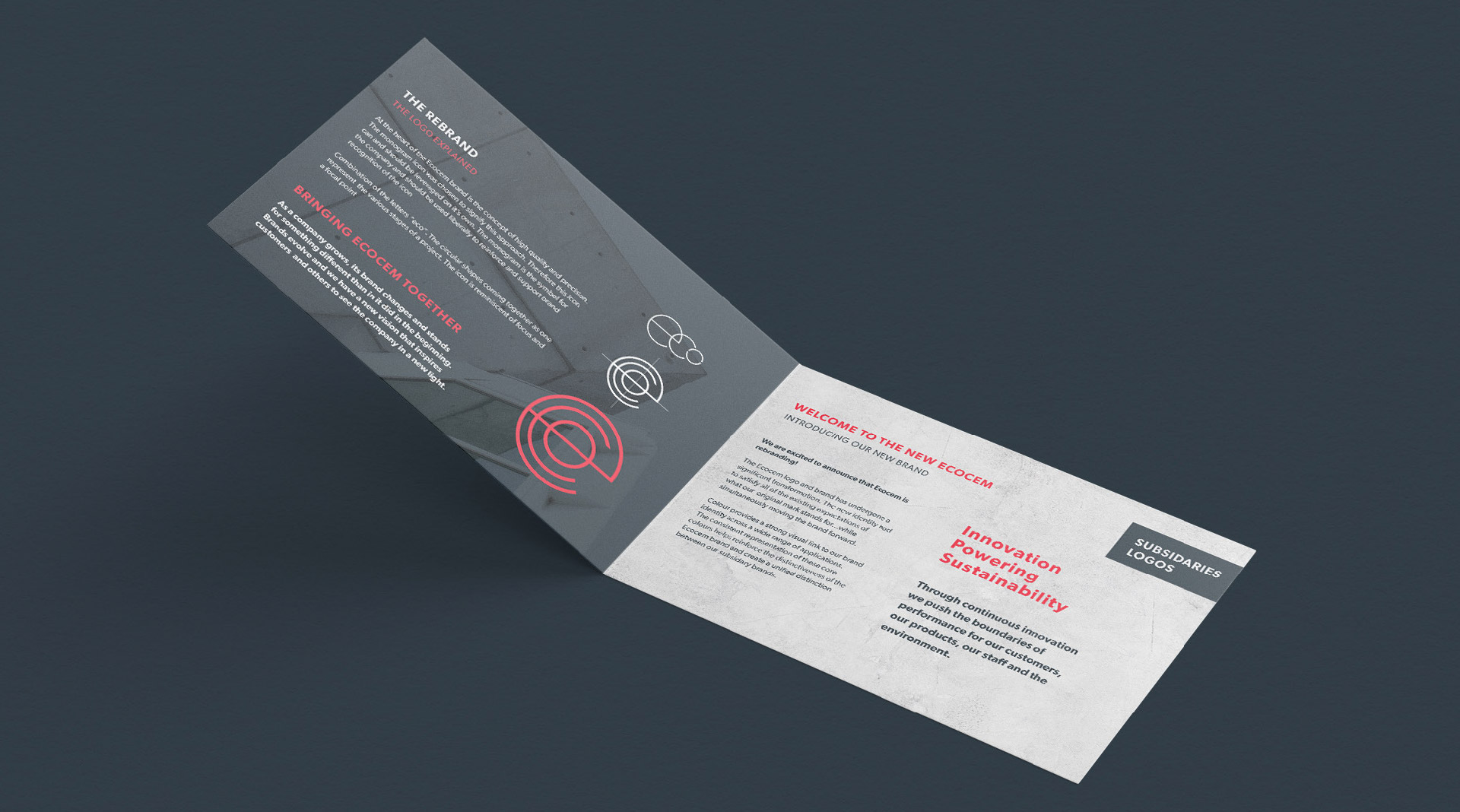 Ecocem materials brochure printed on specialist paper