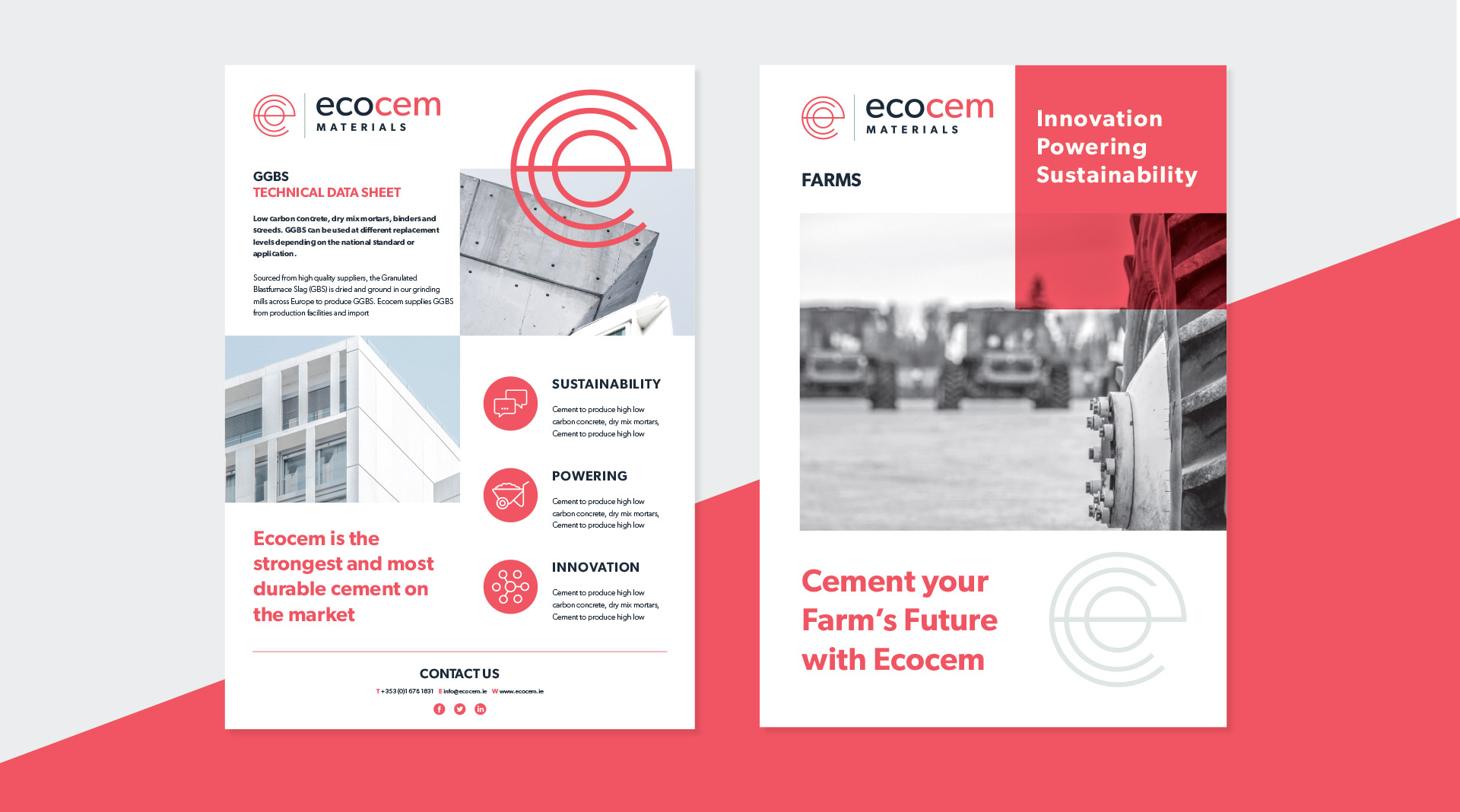 Ecocem materials design of brochure and data sheets