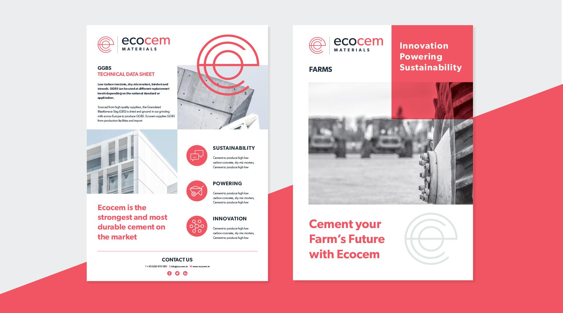 Ecocem materials design of brochure and data sheets