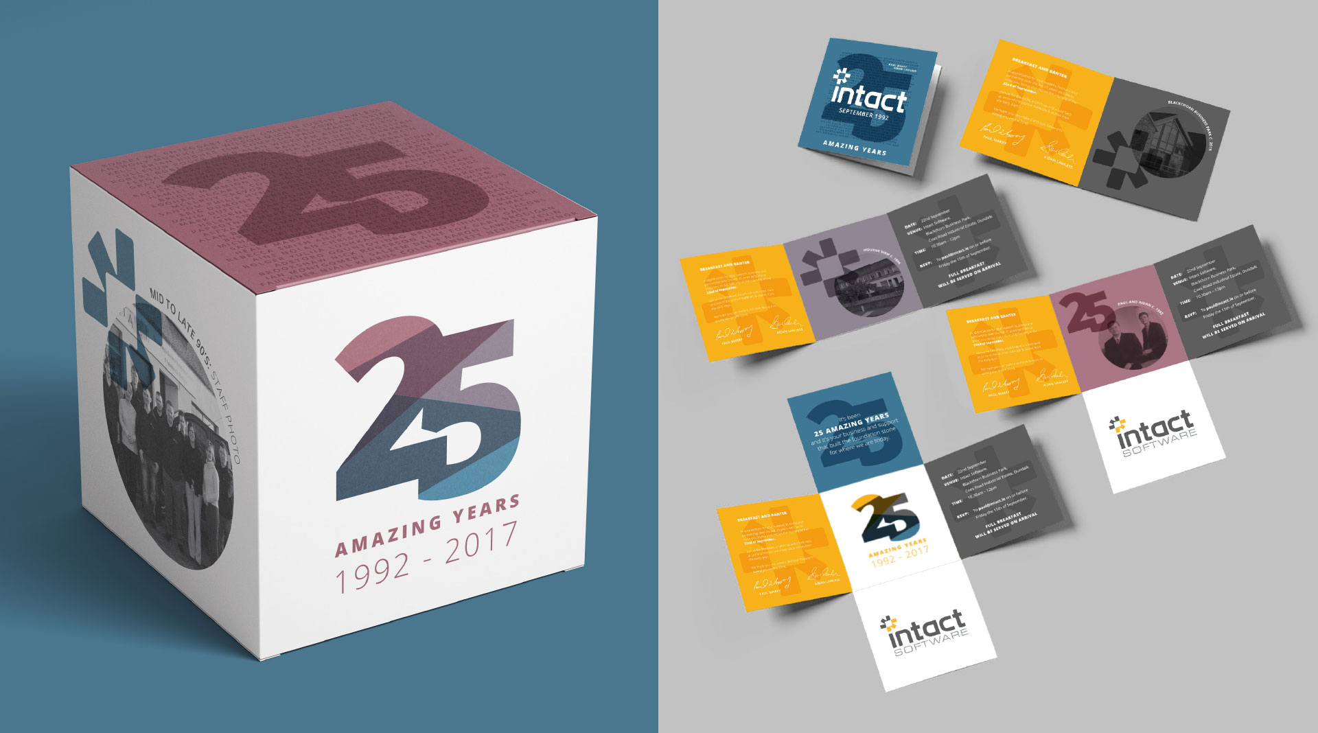 Intact 25 Years large cubes exhibition design and bespoke invitation design.
