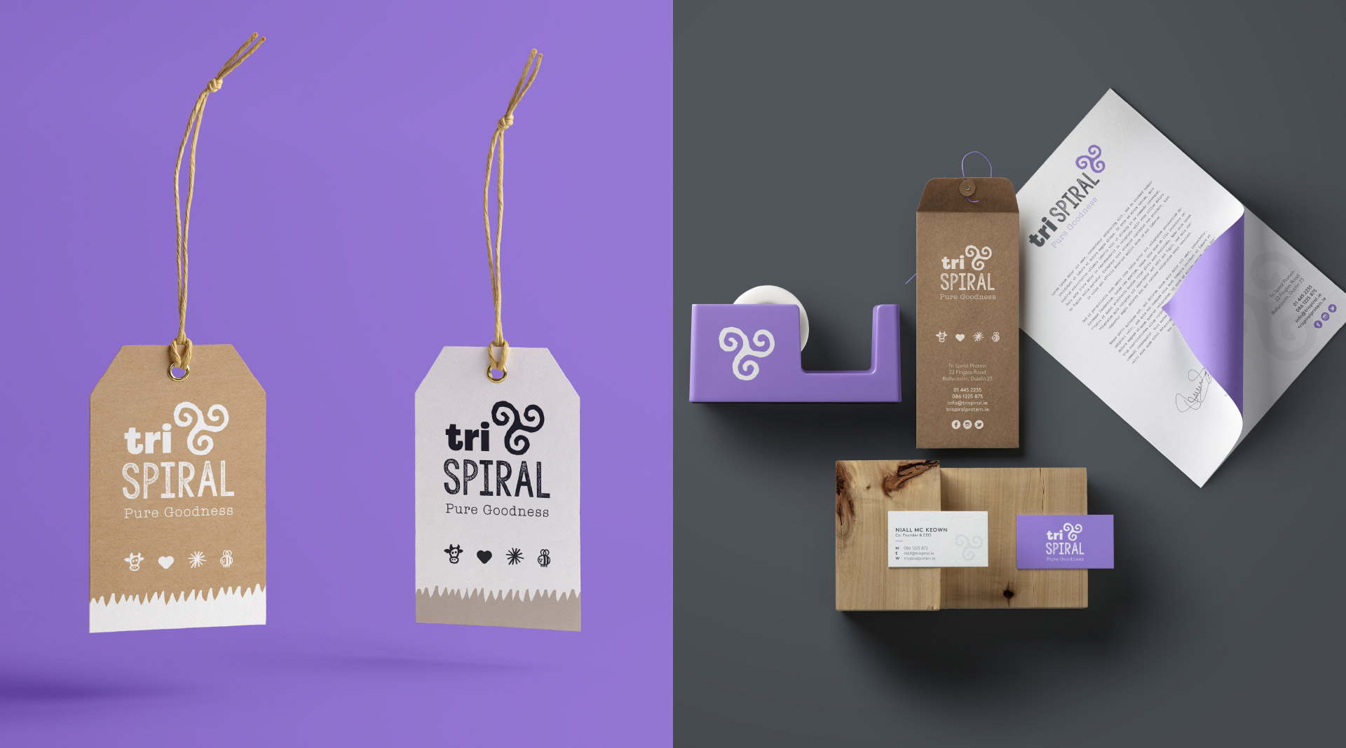 TriSpiral tags and stationery design