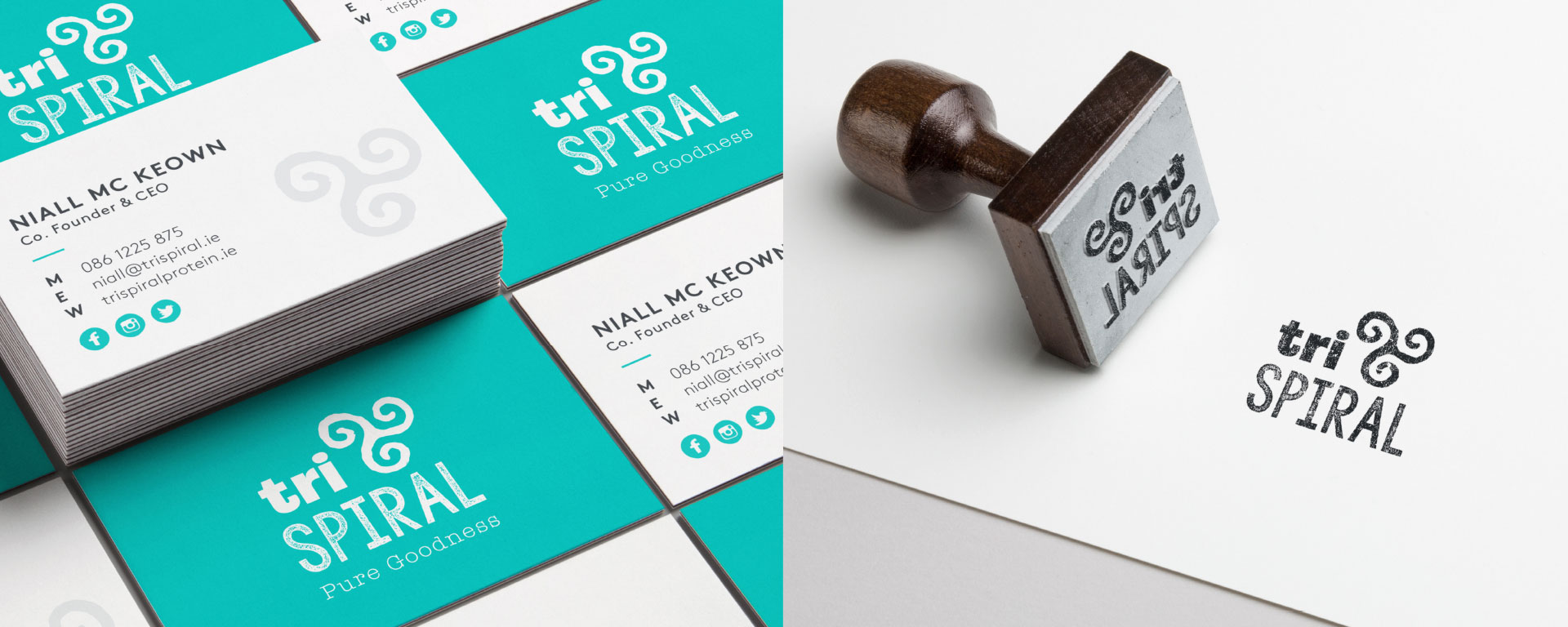 TriSpiral business cards and stamp