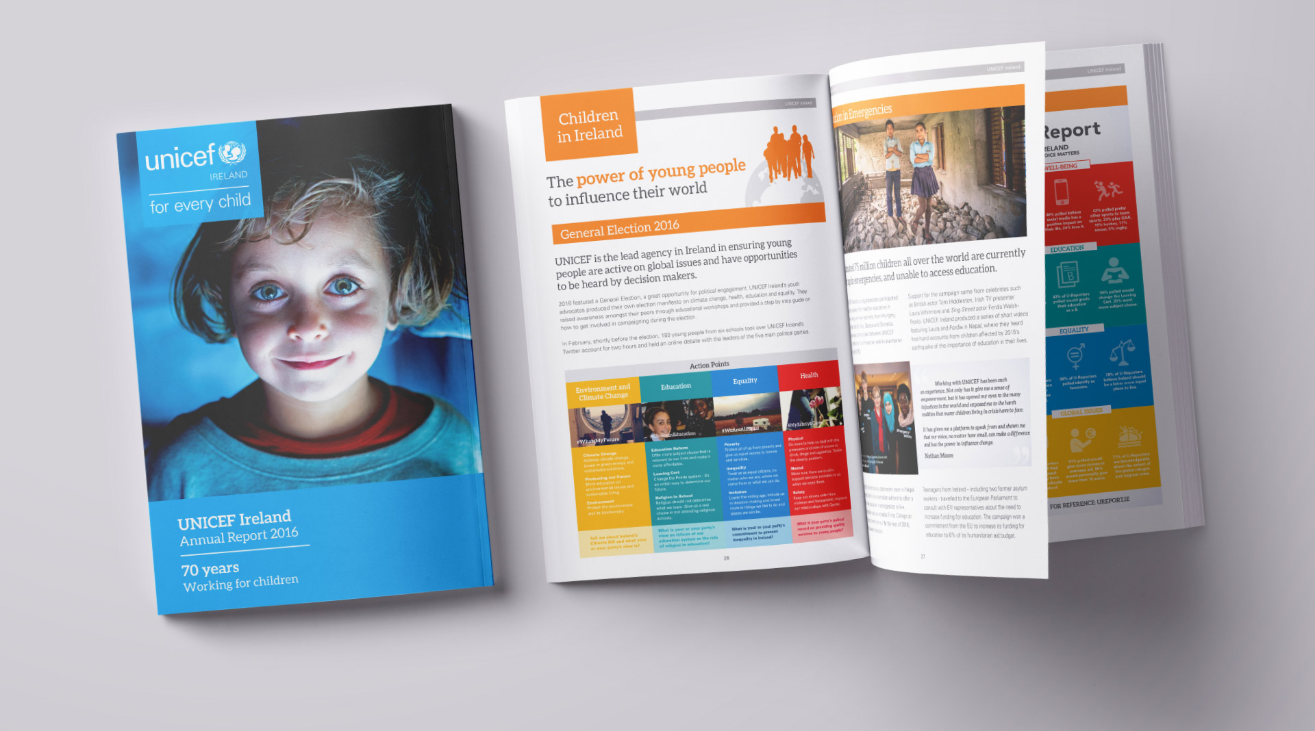 Unicef annual report front cover and spread