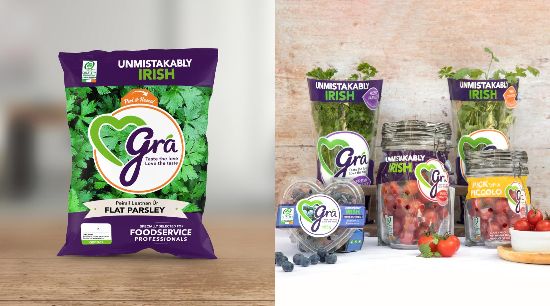 Grá food service packaging designed by Sweet.