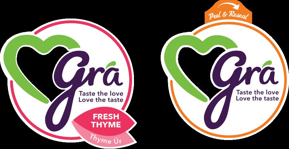 Grá Logo arrangement for herb packaging.
