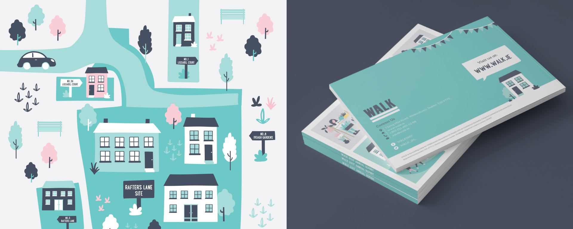 Illustrations and photographs of WALK annual report by Sweet design studio.