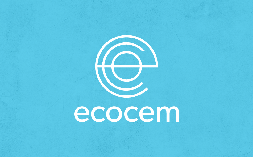 Ecocem logo on textured blue concrete background