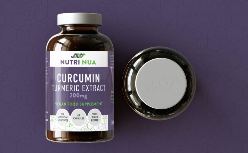 Nutri Nua vitamins recyclable packaging design showing Curcumin turmeric extract on a dark purple background with bespoke pattern design