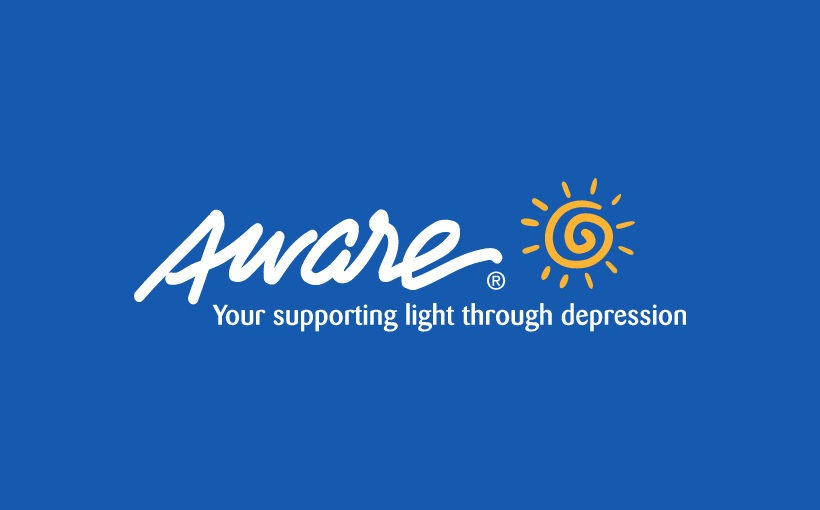 Aware logo with tagline your supporting light through depression on blue background